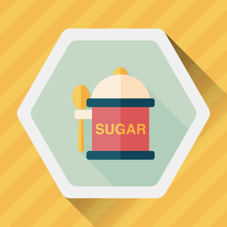 sugar cube: kitchenware sugar flat icon with long shadow