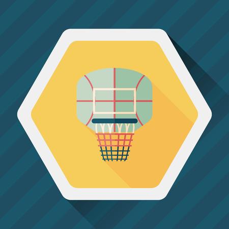 basketbal wervelplank flat icoon met lange schaduw,