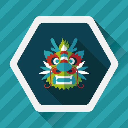 lion dance: Chinese New Year flat icon with long shadow,The dragon and lion dancing head
