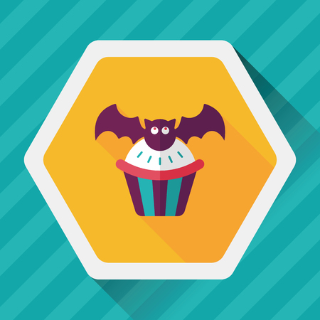 homemaking: Halloween cupcakes with bat flat icon with long shadow