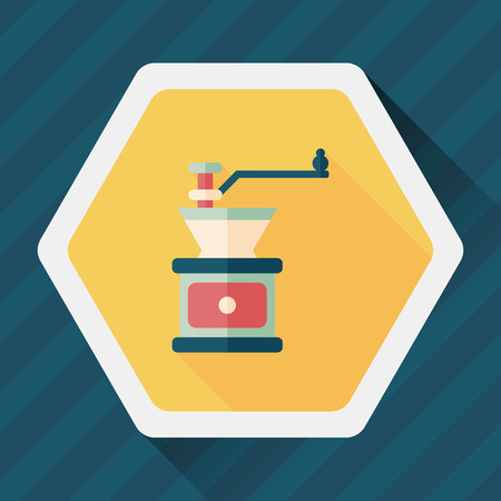 grinding: grinding coffee machine flat icon with long shadow