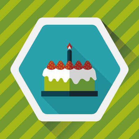pastel de cumpleaños: icono plana pastel de cumpleaños con larga sombra Vectores