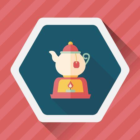 teakettle: tea pot flat icon with long shadow Illustration