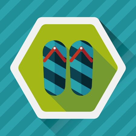 a thong: flip flop flat icon with long shadow Illustration