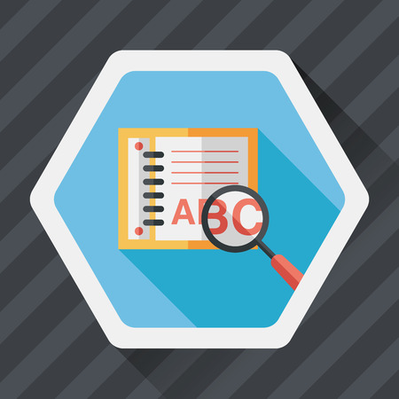 reading app: search Dictionary book flat icon with long shadow Illustration