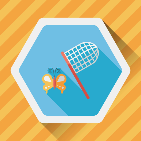 net: butterfly net flat icon with long shadow