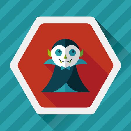 villain: Vampire flat icon with long shadow