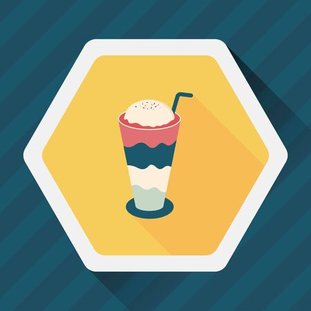 iced: iced floating coffee flat icon with long shadow