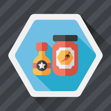 hot sauce: kitchenware hot sauce flat icon with long shadow Illustration