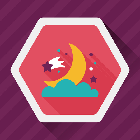moon shadow: Space moon and star flat icon with long shadow Illustration