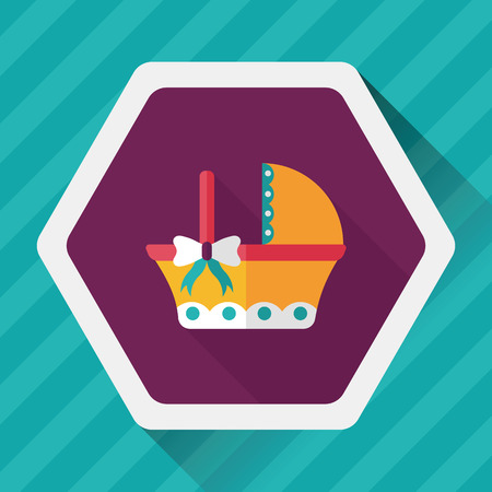 babysitter: baby cradle bed flat icon with long shadow Illustration