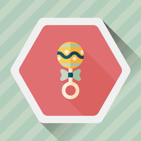 hispanic boys: baby rattle flat icon with long shadow