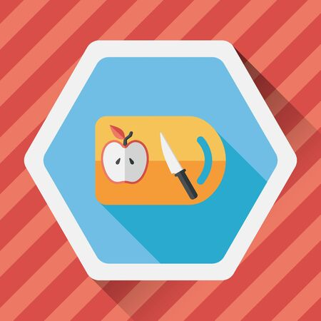 chopping: kitchenware chopping board and knife flat icon with long shadow