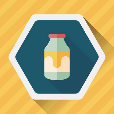 non alcoholic beverage: milk flat icon with long shadow Illustration