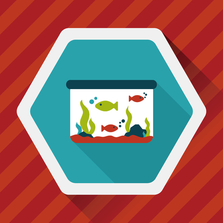 goldenfish: Pet fish flat icon with long shadow