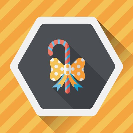 candycane: Christmas candy cane flat icon with long shadow