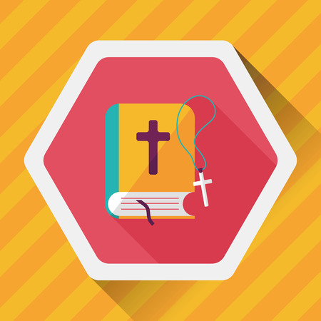 catholicism: bible flat icon with long shadow Illustration