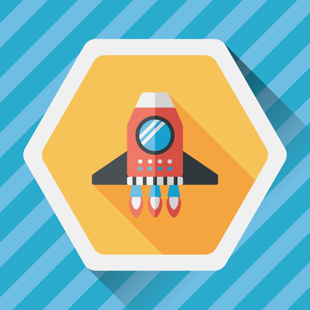 Spaceship flat icon with long shadow