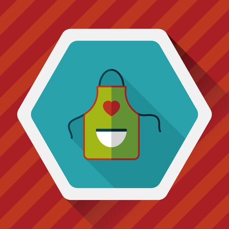 protective apron: kitchenware apron flat icon with long shadow Illustration