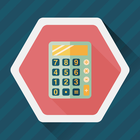 compute: calculator flat icon with long shadow