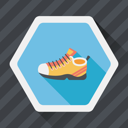 sneaker: sneaker flat icon with long shadow