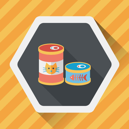 food can: Pet cat food can flat icon with long shadow