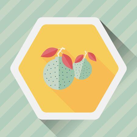 mandarin: Chinese New Year Mandarin Oranges flat icon wtih long shadow Illustration