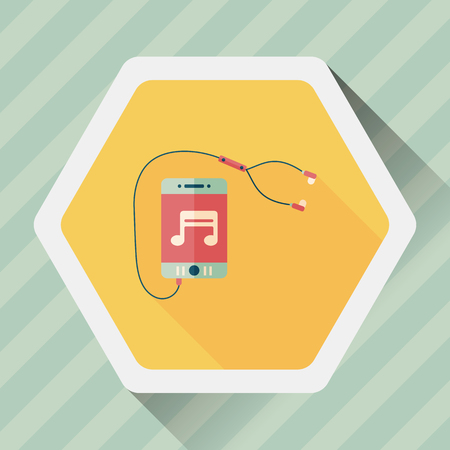 ear phones: smartphone and headset flat icon with long shadow Illustration