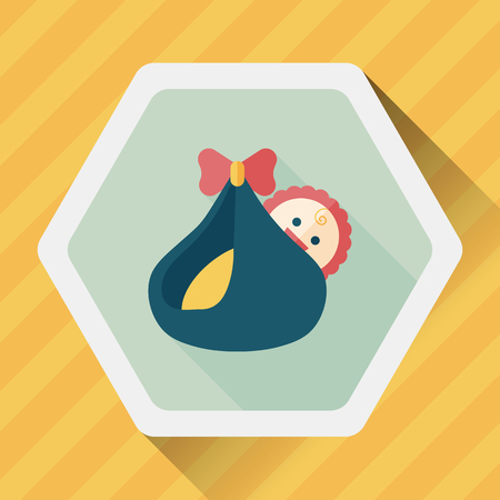 baby diaper: baby flat icon with long shadow Illustration