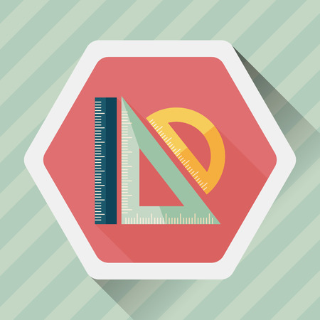 millimeter: Ruler flat icon with long shadow