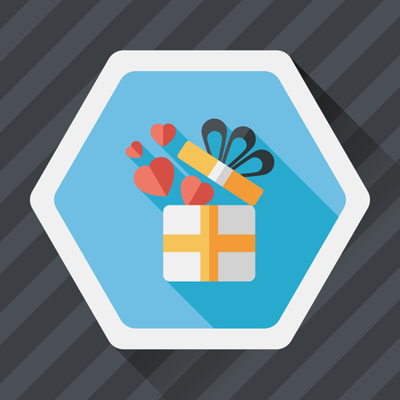 i love you: Valentines Day present flat icon with long shadow