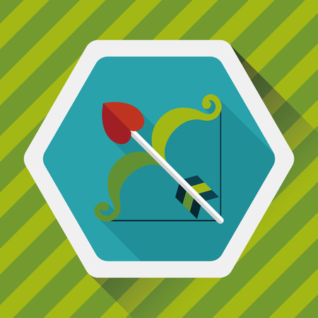 cupido: valentines day Cupid bow and arrow flat icon with long shadow