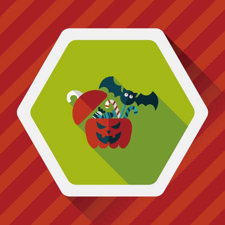 candy box: halloween, gift, box, greeting, decoration, autumn, vector, holiday, jack, head, festive, celebration,  jack-o-lantern, illustration, october, lantern, treat, trick, surprise, container, party, pumpkin, present, happy, flat, icon, candy, children, happine