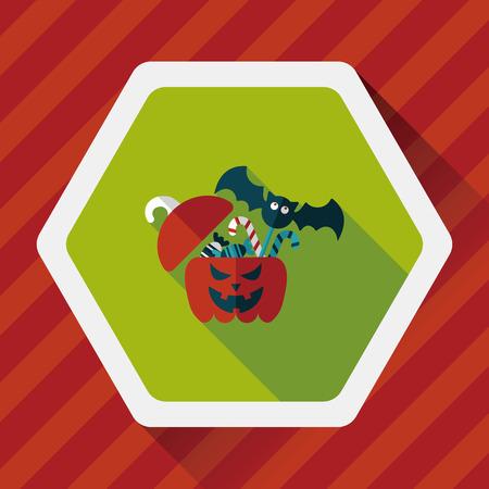 sh: halloween, gift, box, greeting, decoration, autumn, vector, holiday, jack, head, festive, celebration,  jack-o-lantern, illustration, october, lantern, treat, trick, surprise, container, party, pumpkin, present, happy, flat, icon, candy, children, happine
