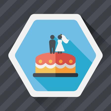 cake decorating: wedding cake flat icon with long shadow