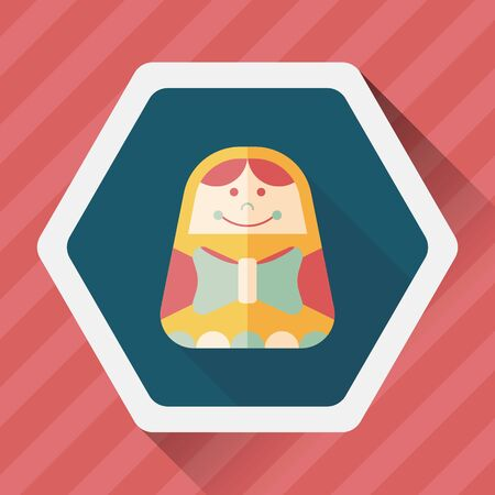 russian doll: Russian Doll flat icon with long shadow Illustration