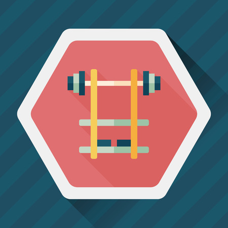 lifter: weightlifting flat icon with long shadow