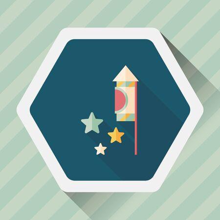 firecracker: Firecracker flat icon with long shadow