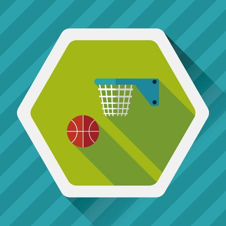 Basketball flat icon with long shadow