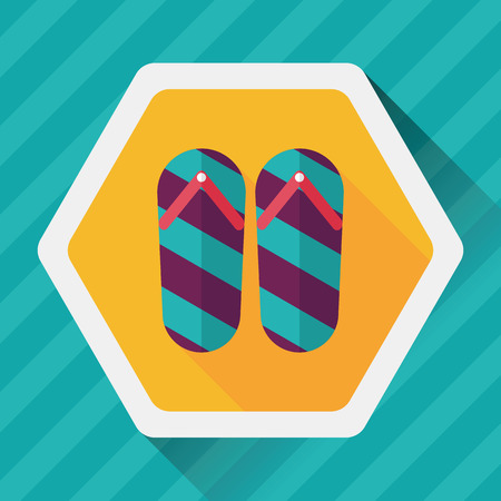 flop: flip flop flat icon with long shadow Illustration