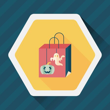 Halloween shopping bag flat icon with long shadow