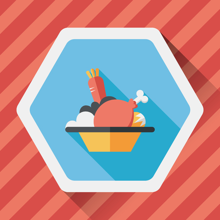 whole chicken: thanksgiving dinner flat icon with long shadow Illustration