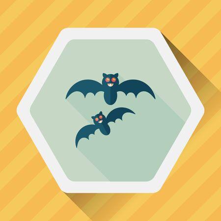 vampire bat: Halloween bat flat icon with long shadow