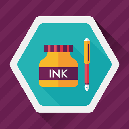 ink bottle: pen and  ink bottle flat icon with long shadow