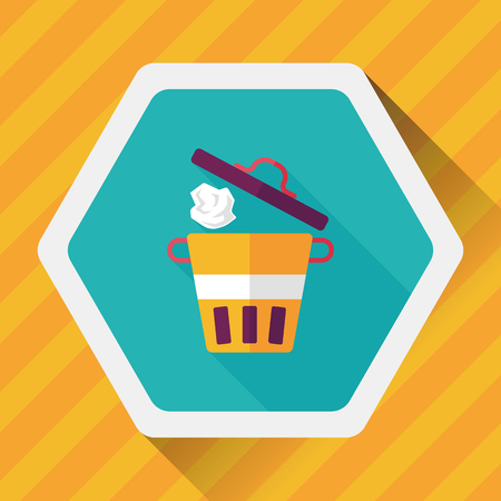 dumpster: kitchenware garbage can flat icon with long shadow