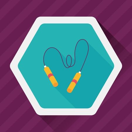 skipping rope: Skipping rope flat icon with long shadow