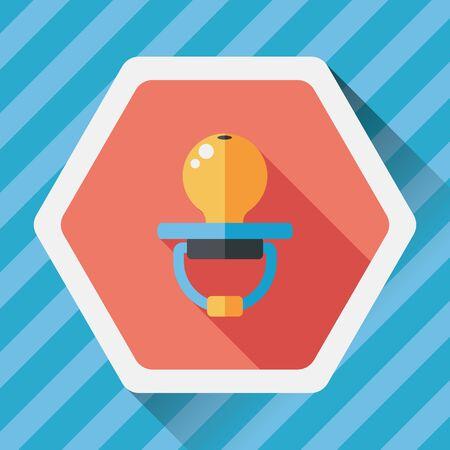dummy: Babys dummy flat icon with long shadow Illustration