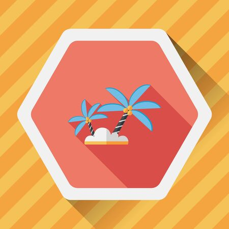 coco: Palm tree flat icon with long shadow