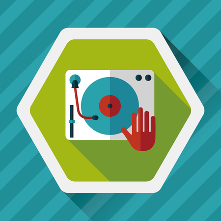 deejay: DJ music flat icon with long shadow Illustration