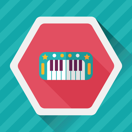 classical arts: piano flat icon with long shadow
